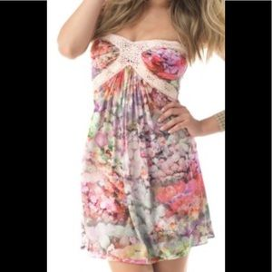 Sky Brand Helena Rose Floral Print Silky Dress